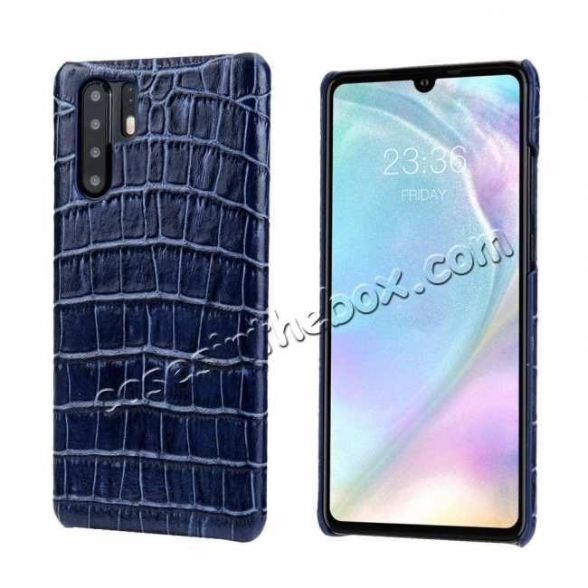 wholesale Crocodile Pattern Genuine Leather Back Case For Huawei P30 Pro - Dark Blue