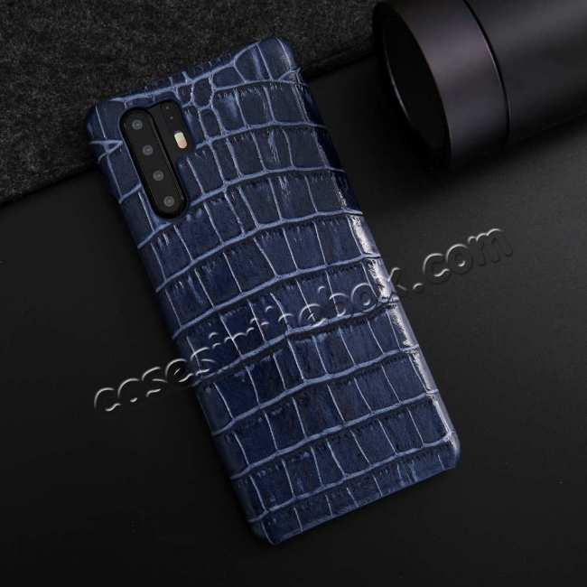 discount Crocodile Pattern Genuine Leather Back Case For Huawei P30 Pro - Dark Blue