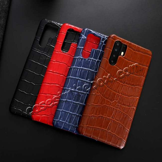 top quality Crocodile Pattern Genuine Leather Back Case For Huawei P30 Pro - Dark Blue