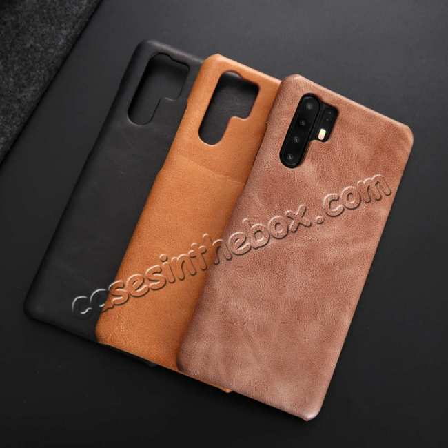 top quality For Huawei P30 Pro Vintage Shockproof Genuine Leather Back Case Cover - Black