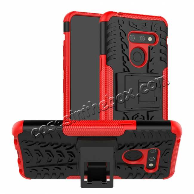 wholesale For LG G8 ThinQ Hybrid Shockproof Hard Armor Stand Cover Rugged Protective Case - Red