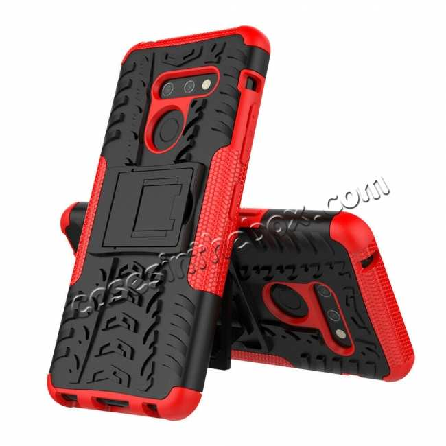 discount For LG G8 ThinQ Hybrid Shockproof Hard Armor Stand Cover Rugged Protective Case - Red