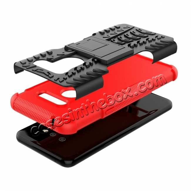 top quality For LG G8 ThinQ Hybrid Shockproof Hard Armor Stand Cover Rugged Protective Case - Red
