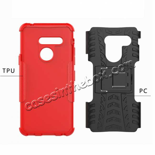 best price For LG G8 ThinQ Hybrid Shockproof Hard Armor Stand Cover Rugged Protective Case - Red