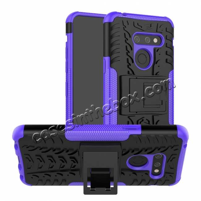 wholesale For LG G8 ThinQ Case Cover Shockproof Hybrid Rugged Rubber - Purple