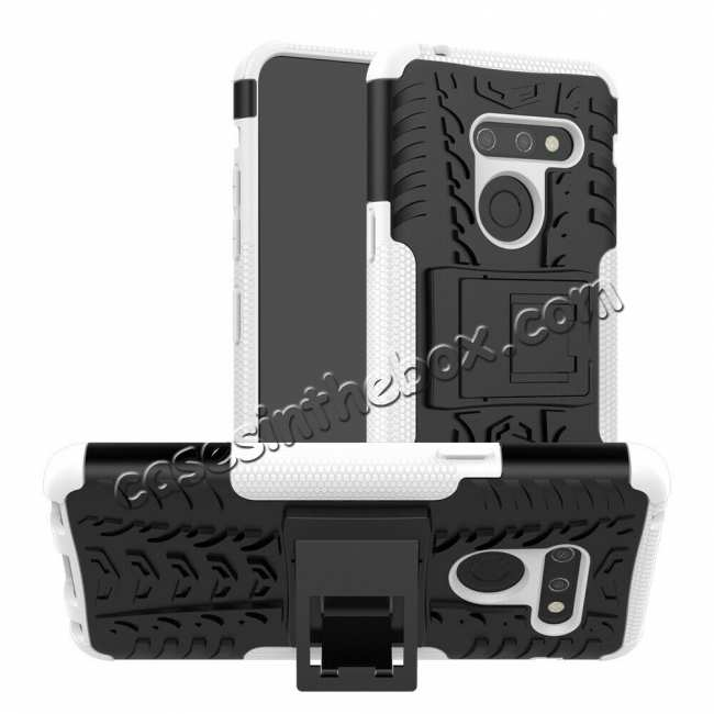 wholesale For LG G8 ThinQ Phone Case Luxury Shockproof Rugged Rubber Hard Cover - White