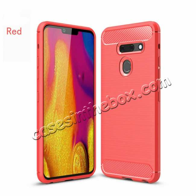 wholesale For LG G8 ThinQ Shockproof Brushed Soft TPU Case Cover - Red