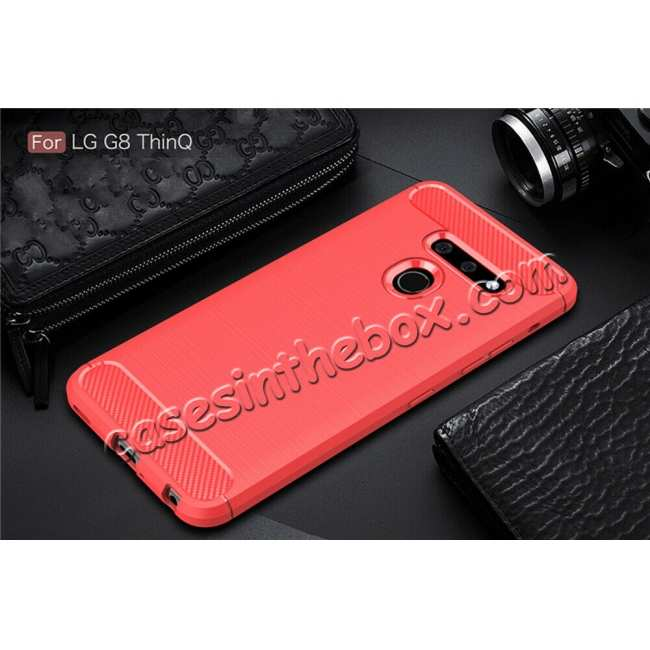 best price For LG G8 ThinQ Shockproof Brushed Soft TPU Case Cover - Red