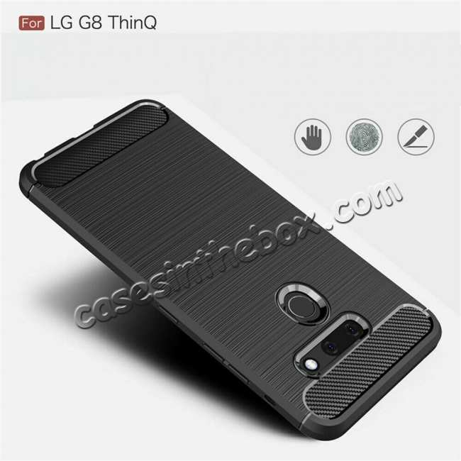 discount For LG G8 ThinQ Shockproof Carbon Fiber Soft TPU Case Cover - Navy