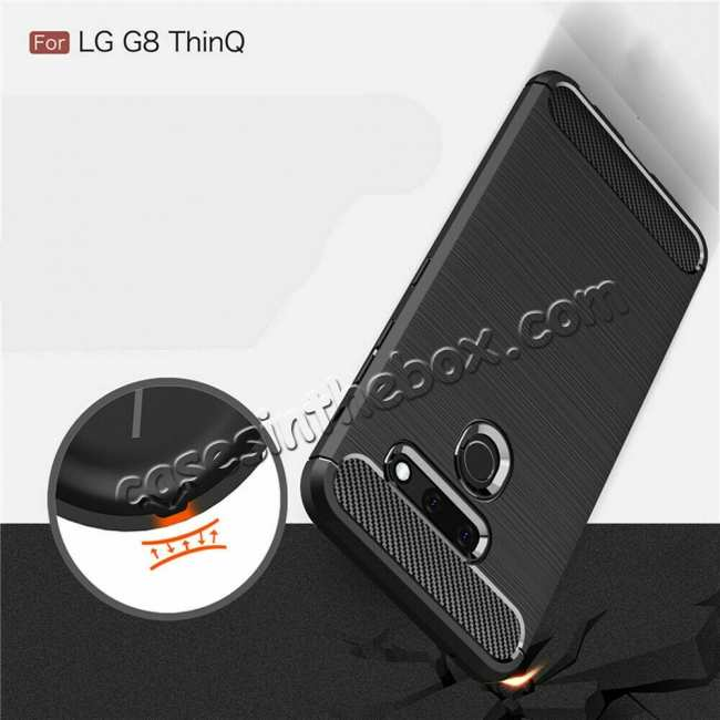 top quality For LG G8 ThinQ Shockproof Carbon Fiber Soft TPU Case Cover - Navy