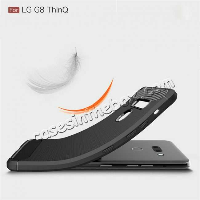 best price For LG G8 ThinQ Shockproof Carbon Fiber Soft TPU Case Cover - Navy
