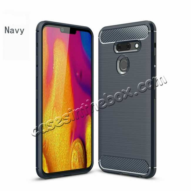 wholesale For LG G8 ThinQ Shockproof Carbon Fiber Soft TPU Case Cover - Navy