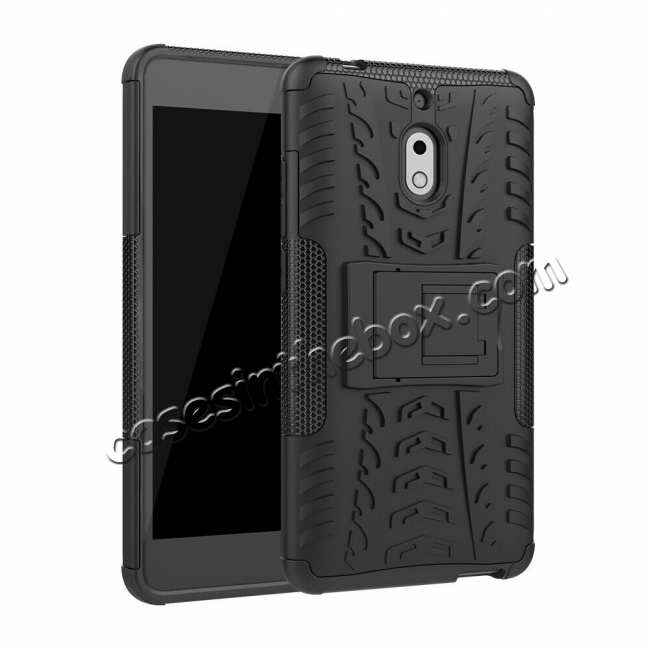 wholesale For Nokia 2.1 Slim Hybrid Armor Shockproof Rugged Rubber Duty Stand Hard Case Cover - White