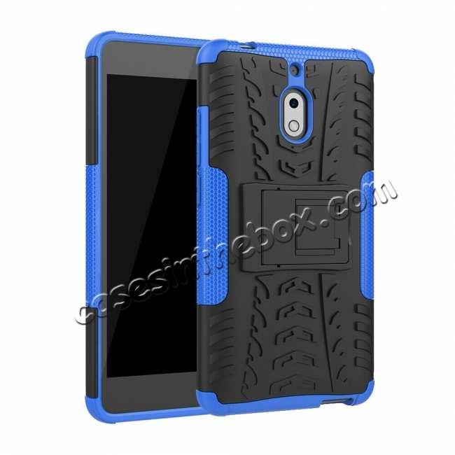 wholesale For Nokia 2.1 Hybrid Heavy Duty Shockproof Rugged Bumper Armor Case - Blue