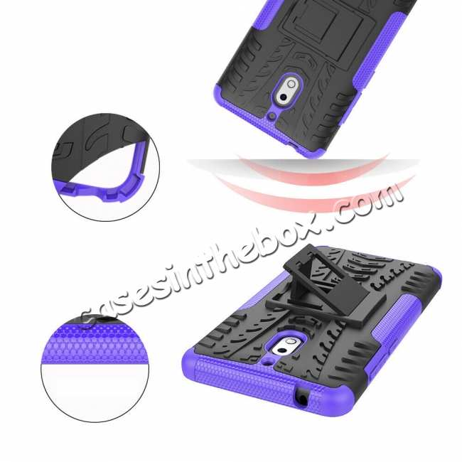 top quality For Nokia 2.1 Hybrid Heavy Duty Shockproof Rugged Bumper Armor Case - Blue