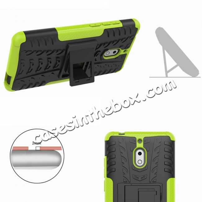 best price For Nokia 2.1 Hybrid Heavy Duty Shockproof Rugged Bumper Armor Case - Blue