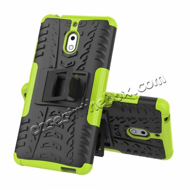 wholesale For Nokia 2.1 Hybrid Shockproof Rugged Kickstand Tough Armour Case Cover - Green