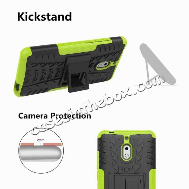 cheap For Nokia 2.1 Hybrid Shockproof Rugged Kickstand Tough Armour Case Cover - Green