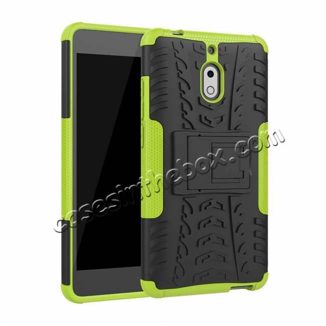 best price For Nokia 2.1 Hybrid Shockproof Rugged Kickstand Tough Armour Case Cover - Green