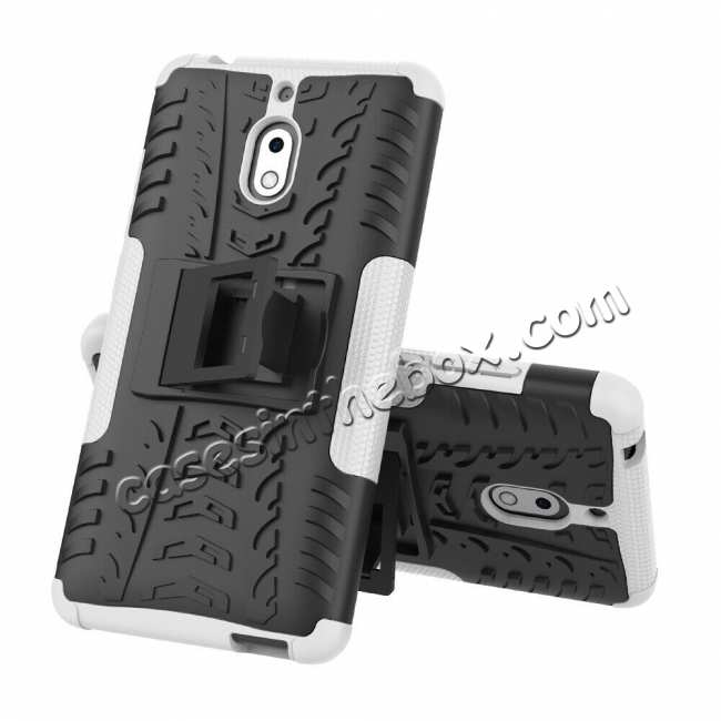 wholesale For Nokia 2.1 Heavy Duty Shockproof Rugged Armor Case Hybrid Kickstand Cover - White