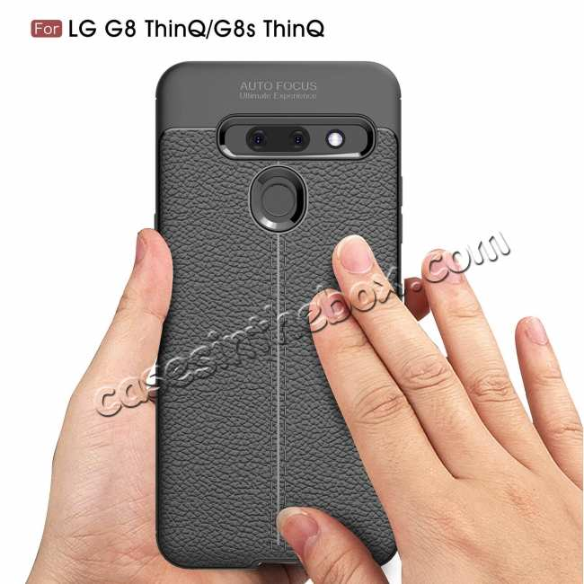 discount For LG G8 ThinQ Shockproof Leather Skin Soft Rubber TPU Phone Case Cover - Navy