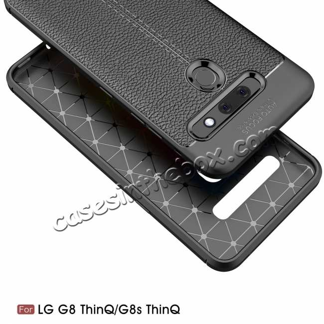 discount For LG G8 / G8s Ultra Thin PU Leather Soft TPU Shockproof Case - Black