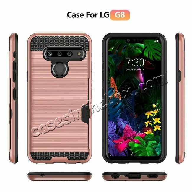 discount For LG G8 ThinQ Shockproof Case Card Slot Rugged Armor Cover Rose Gold
