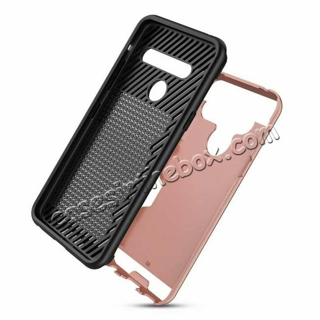 cheap For LG G8 ThinQ Shockproof Case Card Slot Rugged Armor Cover Rose Gold