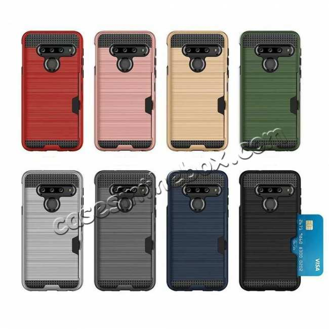 best price For LG G8 ThinQ Shockproof Case Card Slot Rugged Armor Cover Rose Gold