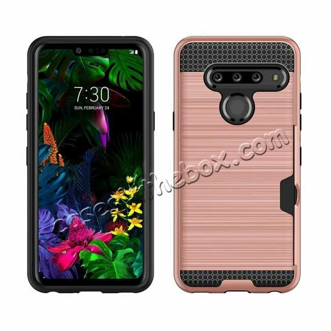 top quality For LG G8 ThinQ Shockproof Case Card Slot Rugged Armor Cover Rose Gold