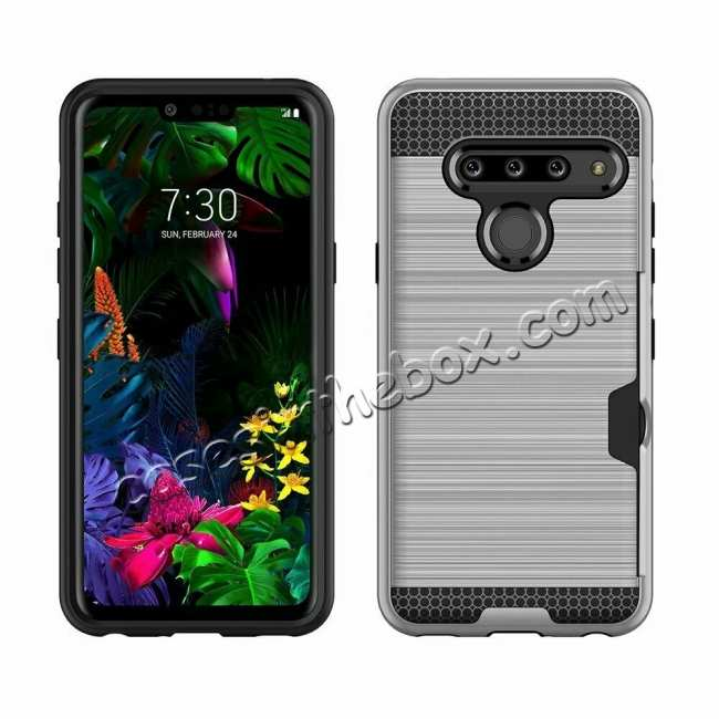 wholesale For LG G8 ThinQ Shockproof Rugged Case Cover With Card Wallet Holder Slot Silver