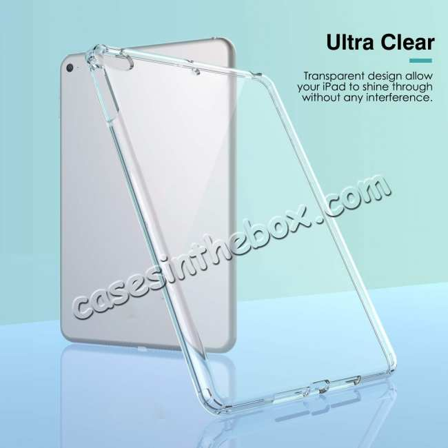 top quality For iPad Mini 5 2019 Clear Grip Soft Flexible TPU Shockproof Rubber Back Cover