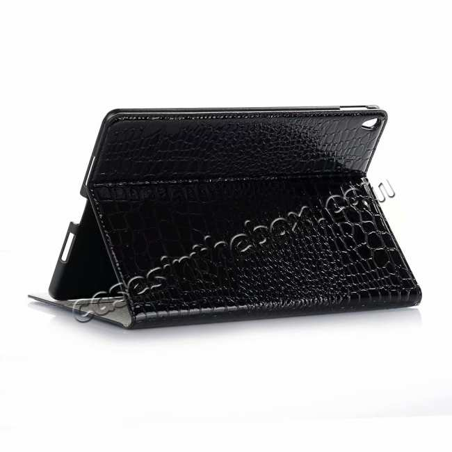 wholesale For iPad Air 10.5 2019 Crocodile Skin Pattern Stand Leather Case - Black