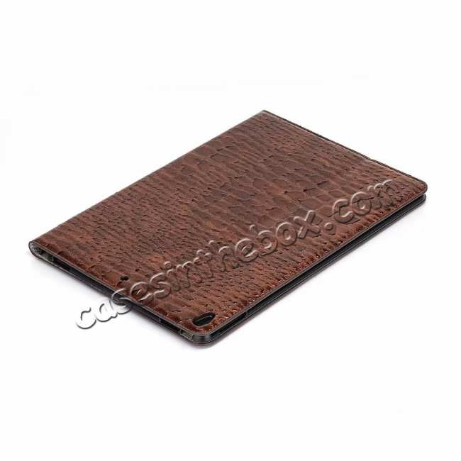 cheap For iPad Air 10.5 2019 Crocodile Skin Pattern Stand Leather Case - Brown