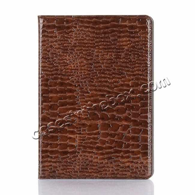 top quality For iPad Air 10.5 2019 Crocodile Skin Pattern Stand Leather Case - Brown