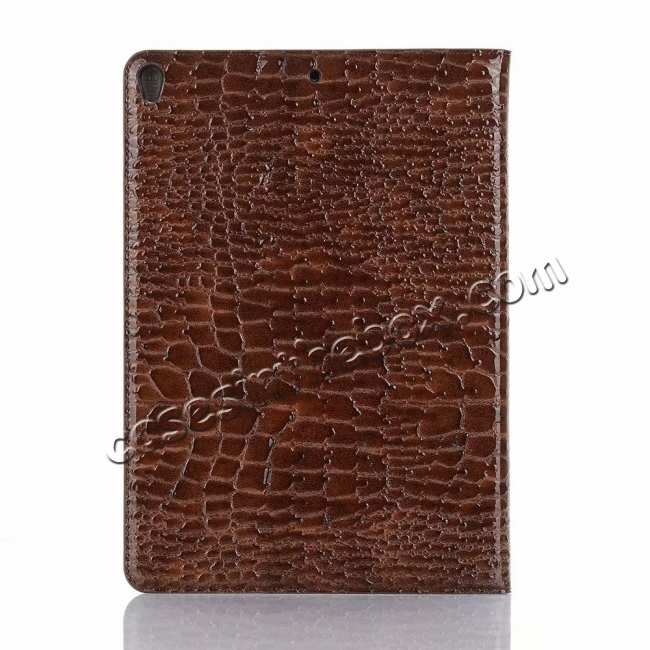 best price For iPad Air 10.5 2019 Crocodile Skin Pattern Stand Leather Case - Brown