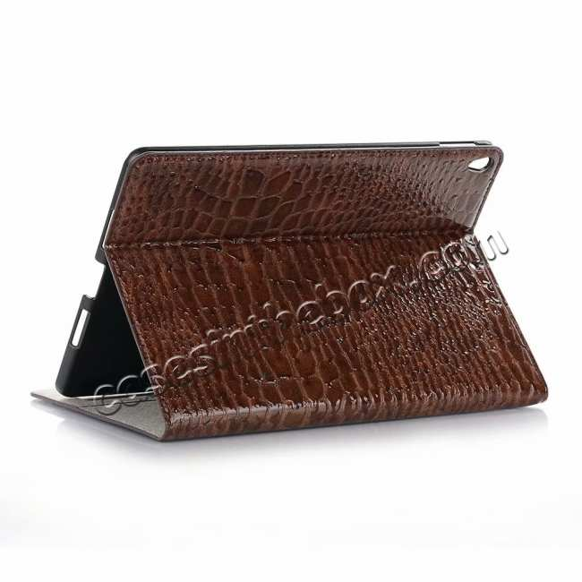 wholesale For iPad Air 10.5 2019 Crocodile Skin Pattern Stand Leather Case - Brown