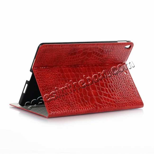 wholesale For iPad Air 10.5 2019 Crocodile Skin Pattern Stand Leather Case - Red