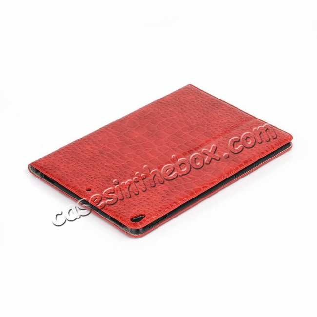 top quality For iPad Air 10.5 2019 Crocodile Skin Pattern Stand Leather Case - Red