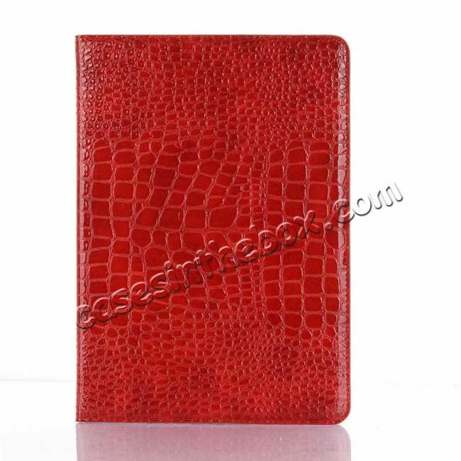 best price For iPad Air 10.5 2019 Crocodile Skin Pattern Stand Leather Case - Red