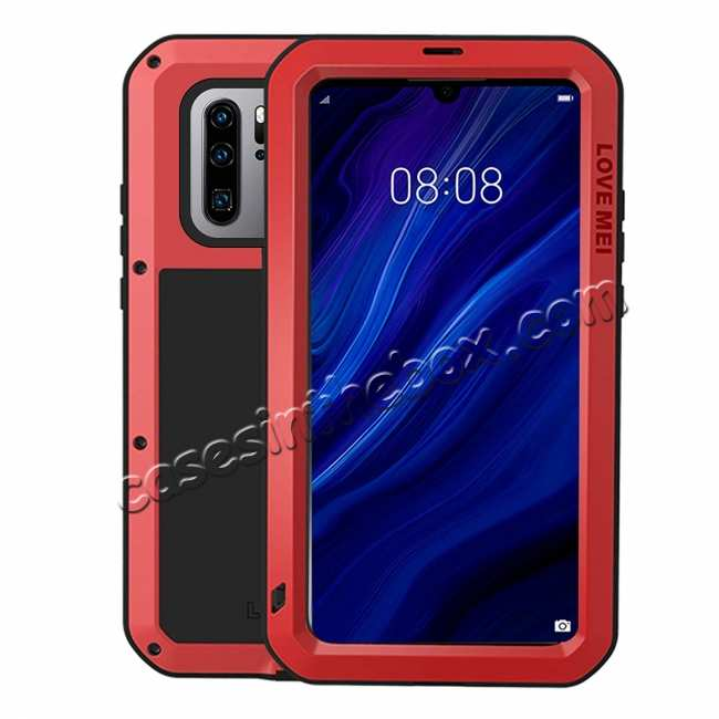 wholesale For Huawei P30 Pro Shockproof Waterproof Metal Tempered Glass Case Cover Red