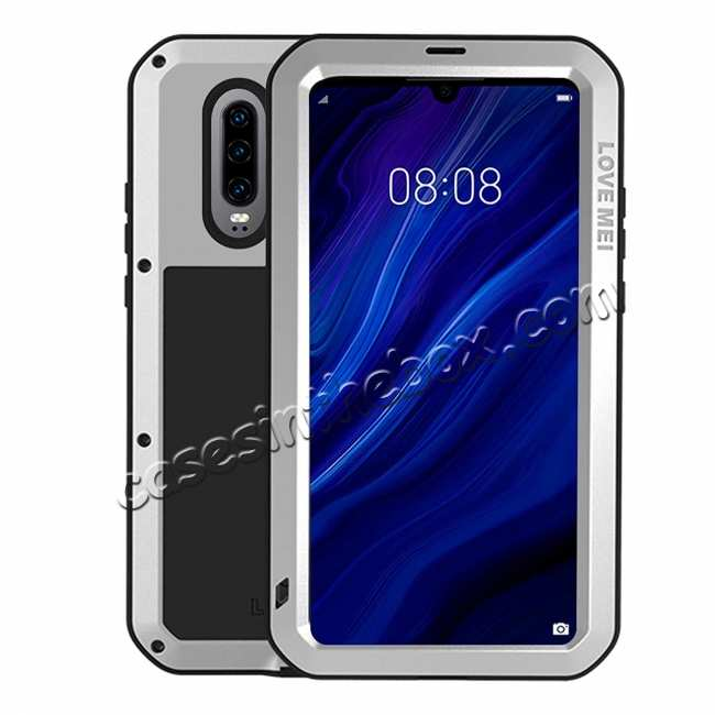 wholesale For Huawei P30 Pro Waterproof Alloy Metal Shockproof Case Cover Tempered Glass Silver