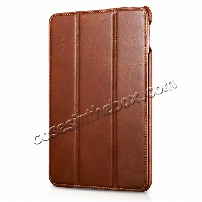 discount Case for iPad Mini 5 ICARER Genuine Leather Vintage Series - Brown