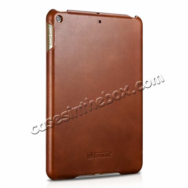 cheap Case for iPad Mini 5 ICARER Genuine Leather Vintage Series - Brown