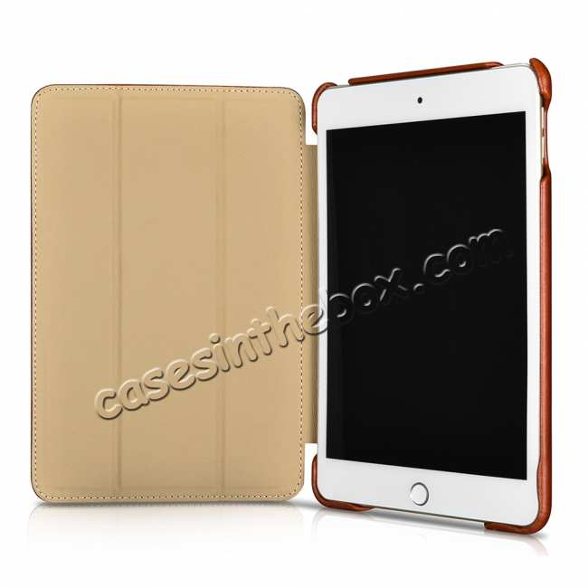 top quality Case for iPad Mini 5 ICARER Genuine Leather Vintage Series - Brown