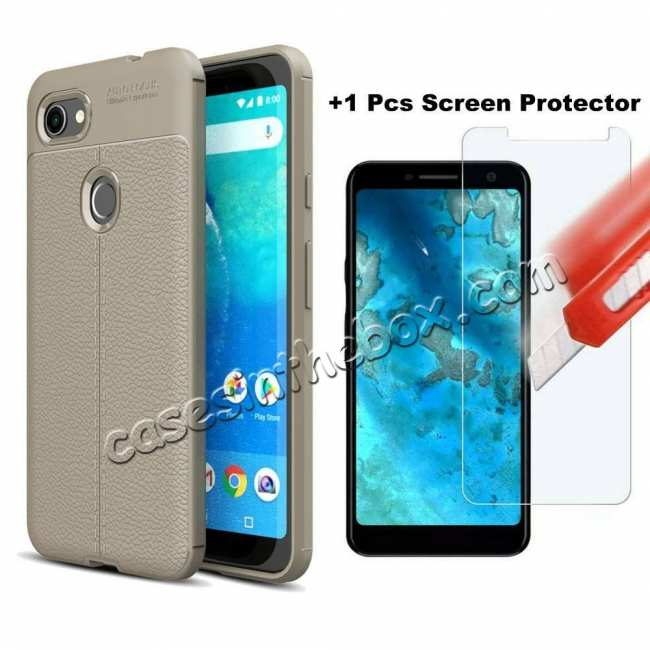wholesale For Google Pixel 3a XL Case With Screen Protector Soft Anti Slip Shockproof TPU Cover Grey