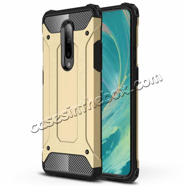 wholesale For OnePlus 7 / 7 Pro Hybrid Armor Shockproof Rugged Bumper Case Gold