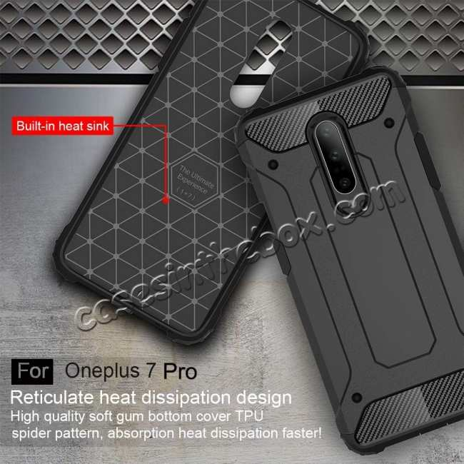 cheap For OnePlus 7 / 7 Pro Hybrid Armor Shockproof Rugged Bumper Case Gold
