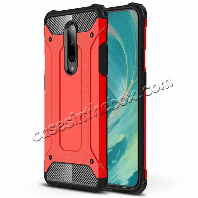 wholesale For OnePlus 7 / 7 Pro Shockproof Hybrid Hard Armor Phone Case Red