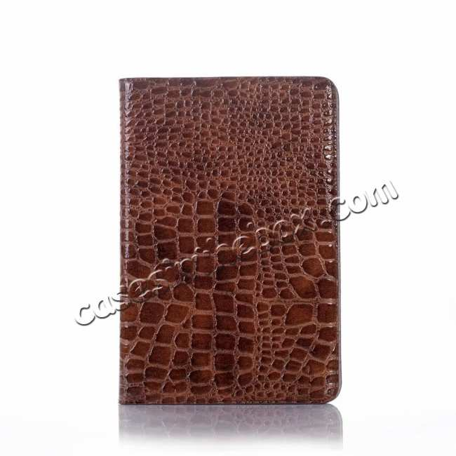 top quality Leather Case for iPad Mini 5 Crocodile Skin Smart Cover - Brown